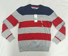 NWT Tommy Hilfiger Boys Gray Red Bue Striped Crew Neck Sweater Large 16 18 $49