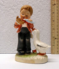 Arnart Creation Japan Boy With Geese Cute Hummel Look Alike Figurine