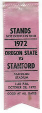 1972 College Football Ribbon Stanford University vs Oregon State