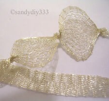 "12""x (12 inches) BRASS MESH WIRE  Light Gold   7mm TUBE LACE"