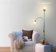 Modern Style E27 Silver 2 Lights Stainless Steel Living Room Bedroom Floor Lamp
