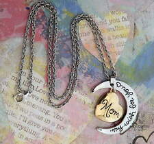 My Wish For You Mom Moon Heart Silver Gold Pendant Chain Necklace Mothers Day