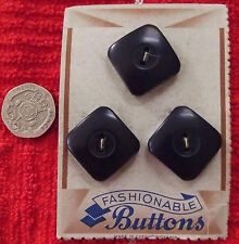 3 vintage blue buttons on card Czecho-Slovakian FASHIONABLE BUTTONS chunky wood