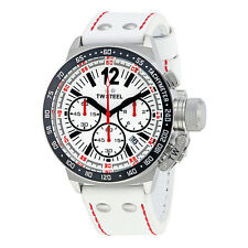 TW Steel CEO 45mm Chronograph White Dial White Leather Mens Watch CE1013R