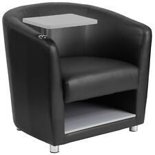 BLACK LEATHER GUEST CHAIR WITH TABLET ARM,CHROME LEGS AND UNDER SEAT STORAGE