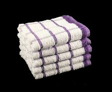 Pack of 10 PURPLE & WHITE 100% Cotton Kitchen Terry Tea Towels Size 33cm x 58cm