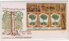 (ICE-70) 1969 New Hebrides FDC 20gold centimes 3strip timber industry (B)