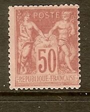 "FRANCE STAMP TIMBRE N°104 ""SAGE 50c ROSE TYPE III "" NEUF xx TB"