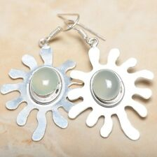 """Handmade Green Natural Chrysoprase 925 Sterling Silver Earrings 2.5"""" #E00124"""