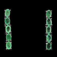23 CTS! SPECTACULAR!! NATURAL TRANSLUCENT BRAZILIAN EMERALD SILVER 925 EARRINGS