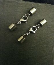 2 Sets of 13mm Stainless Steel Lobster Clasp & End Caps for 5.5mm Cord