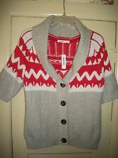 NWT Womens Size M Old Navy Beige Red Short Sleeve Cardigan Sweater