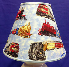 Train on Blue Handmade Lampshade Trains Lamp Shade