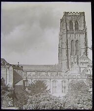 Glass Magic Lantern Slide DURHAM CATHEDRAL EXTERIOR NO4 C1890 PHOTO .. UK