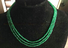 17-19 inch New 4mm Faceted 3 Rows Genuine Natural Green Emerald beads necklac