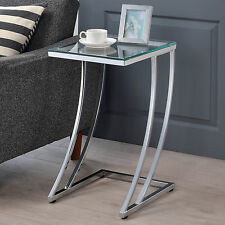 Modern Design Tempered Glass Top Chrome Metal Base Accent Side Snack End Table