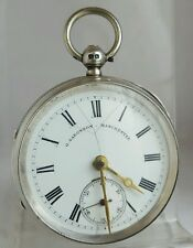 Nice antique solid silver gents G. AARONSON MANCHESTE  pocket watch 1901 working