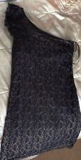 Jane Norman Black & Gold Lace One Shoulder tunic top/Dress Party Size 8-10 New