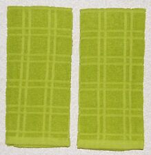 "2 Solid LIME Green Plaid Windowpane Terry Cloth Kitchen Towels 16"" x 26"""