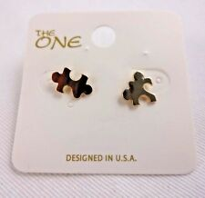 Puzzle piece earrings matte gold tone metal small stud Autism Awareness