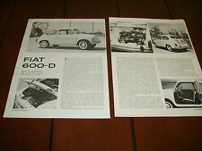 1961 FIAT 600-D  ***ORIGINAL ARTICLE / ROAD TEST***