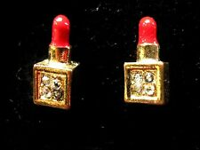 12mm Gold tone diamante sparkle Red Lipstick Make Up 3D stud Earrings Kitsch