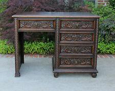 Antique French Oak Small Desk Ladies Vanity Dressing Table Parquet Top