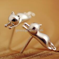 925 Sterling Silver - Korea Cute 3D Running Cat Kitten Lady Party Club Earrings