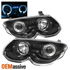 Fits 99-04 Chrysler 300M Black Dual Halo Projector LED Headlights Lamps Pair Set