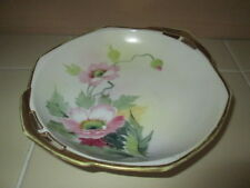 Nippon Vintage Porcelain trinket Plate Bowl Soup Dish Hand Painted Pink Flowers