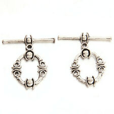 30pcs Antique Silver Tone Carved Alloy IQ Toggle Clasps Findings Accessories C