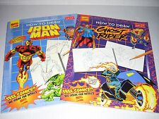 2 Marvel Super Heroes How to Draw Iron Man & Ghost Rider(1997, Paperbacks) NEW