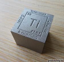 """XXL-Titanwürfel """"CUBE"""" Element (5 oz avdp Titan Titanbarren Unze Unzen Barren)"""