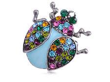 Colorful Multi Crystal Rhinestone Enamel Lady Bug Fashion Jewelry Pin Brooch