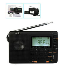 TIVDIO V-115 FM/AM/SW Mini Radios World Band Receiver MP3 Player Rechargeable US