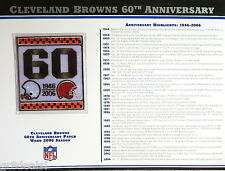 CLEVELAND BROWNS 60th ANNIVERSARY NFL TEAM PATCH CARD Willabee & Ward WORN 2006