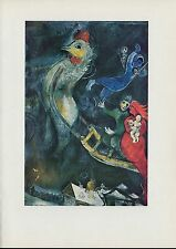 "1963 Vintage ""THE FLYING SLEIGH, 1945"" by MARC CHAGALL COLOR Art Lithograph"