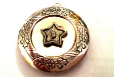 Pentacle PHOTO LOCKET 5 POINT STAR CRESCENT MOON on Silver Chain Necklace