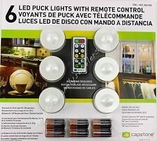 Capstone 6 LED Puck Lights w/ Remote Control plus Batteries Wireless One Touch