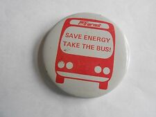 Cool Vintage PA Transit Save Energy Take the Bus Promo Advertising Pinback
