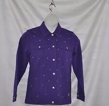 """Quacker Factory """"DreamJeannes"""" Knit Denim Jacket Size S Dark Purple"""