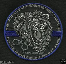 Wicked Flee Righteous Bold Lion Thin Blue Line Law Enforcement Police Patch