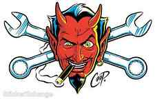 Wrench Devil Head STICKER Decal Poster Art Coop CP60 Rare First Printing! Roth