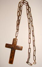 VINTAGE BAKELITE VOGUE JEWELRY CROSS METAL CHAIN NECKLACE STATEMENT BROWN MARBLE