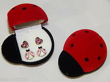 Adorable 2 Pair Pink Heart And Pink Ladybug Earring in Ladybug Gift Box for girl