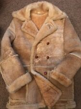Mens Vintage SHEARLING SHEEPSKIN SUEDE LEATHER Marlboro Man Coat Jacket 42 40
