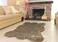 5' x 6' Black Tip Gray Coyote Plush Fur Rugs Bearskin Home Accents Rug Decor