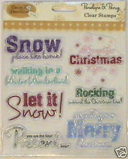 Daisy & Dandelion rubber stamp set Merry Christmas greetings Snow Sentiments