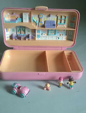 1990 Polly Pocket Pink Rectangle Storage House Case Compact- Bluebird With Acces
