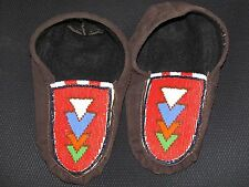 NATIVE AMERICAN  MOOSE HIDE MOCCASIN  9 1/2 INCHES LONG  COLORFUL  TRIANGLES